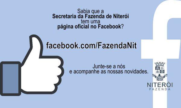 """Cartaz com símbolos do Facebook e os seguintes textos: """"Sabia que a Secretaria da Fazenda de Niterói tem uma página oficial no Facebook?"""", """"facebook.com/FazendaNit"""", """"junte-se a nós e acompanhe nossas novidades""""."""